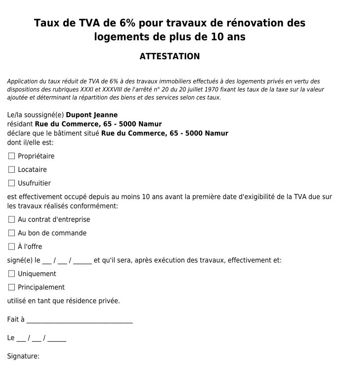Attestation PDF TVA 6%